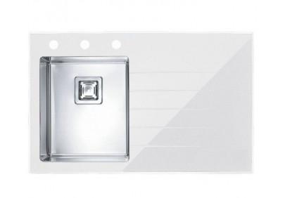 Мойка для кухни Alveus Crystalix 10 (Белое стекло, чаша слева)
